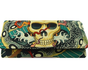 """Bifold Woman Wallet """"Sexy Skulls  With Eyeglasses Zen Charmers , Cotton Fabric, New, Rare"""