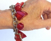 Charm Bracelet Chunky Raspberry Pink Plastic Thermo Vintage