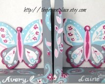 Personalized,customized,Butterfly Bookends, hand painted,hot pink, ight pink, grey,aqua,bookends for girls,kids bookends,childrens bookends