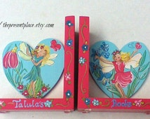 fairies and flowers,hand painted personalized bookends in coral and aqua,fairy bookends,personalized bookends,girls bookends,kids bookends