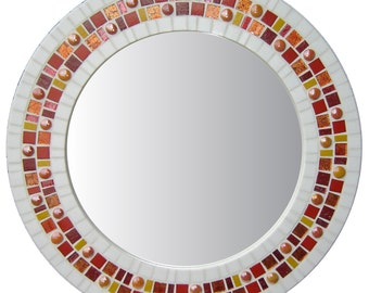 Round Wall Mirror - White, Orange, Red Mosaic