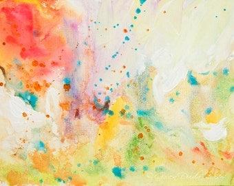 Abstract Art Small Painting Joyful Light Acrylic on Illustration Board SFA Small Fine Art