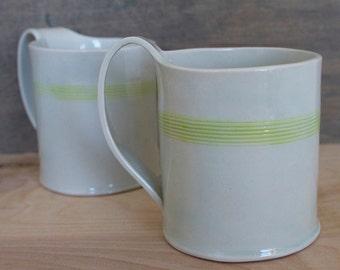 Hand Built Porcelain Striped Mug
