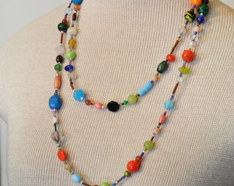 """Beaded NECKLACE - Long 24"""" (48"""") Multiple Primary Colors Blue Green Red Aqua Orange Seed Bead Glass Bead - Goes with Everything Necklace 34"""