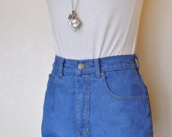 Blue Sz 26 Lawman Denim SHORTS - Urban Style Denim Blue Dyed Distressed High Rise Vintage Cut Off Shorts - Adult Womens Size 26 Waist