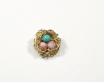 Gold wire birds nest charm, custom wire nest pendant, bird eggs in nest, gift for new mom, mothers day, anniversary