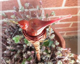 bird plant stake, indoor garden art, outdoor yard art, Cardinal red bird