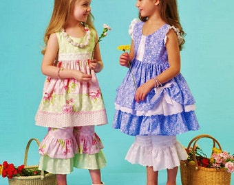 Girls' Summer Dress Pattern, Little Girls' Ruffle Capris Pattern, McCall's Sewing Pattern 7110