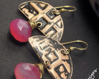 Efteling Pink, Copper, Chalcedony, and 14k Gold Filled earrings, ThePurpleLilyDesigns