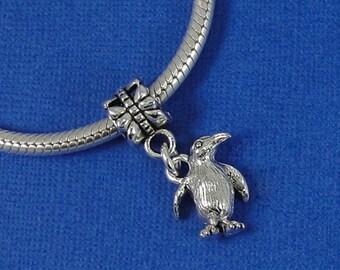 Penguin European Dangle Bead Charm - Silver Penguin Charm for European Bracelet