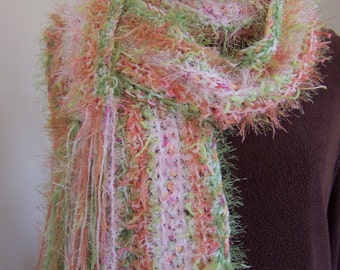Crochet scarf extra long gypsy scarf with long fringe / spring green peach and pink / super soft handmade funky fuzzy art scarf
