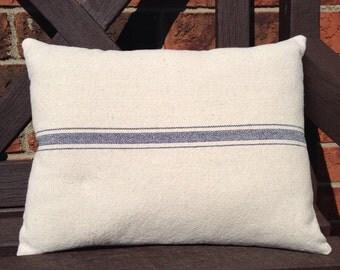 Grain Sack / Ticking Pillow Blue Stripe