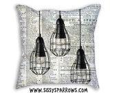 Industrial Lights Pillow (Case Only) Vintage Newspaper Black and White Typography News Print Young Teenager Lady Woman Youth Home Decor