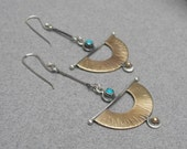 Long fan earrings: dangling Egyptian-inspired brass and sterling fans with 3 mm turquoise stone