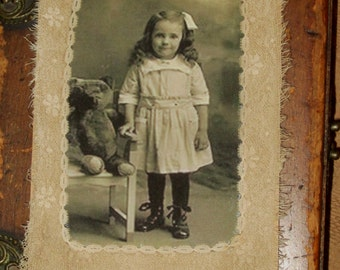 Vintage Lace Collage Tag Extra Large   Sweet Girl with her Teddy Bear
