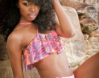 CLEARANCE Tori Ruffle TOP ONLY  in Coral Paisley