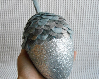 Large Silver Glittered Acorn Glittery Ornament Decoration