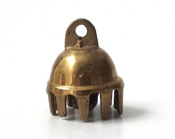 vintage 1970's brass elephant bell charm metal womens men accessories accessory old retro modern jewelry brutalist patina aged small pendant