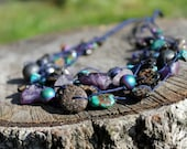 Peacock Necklace Amethyst Turquoise Psychedelic Necklace Navy Blue Teal Purple Multistrand Necklace Mandala Fluorite