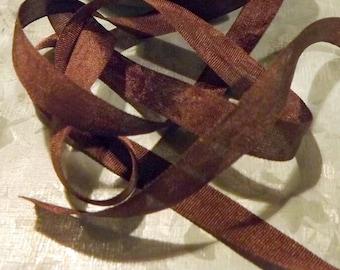 Brown Silk Ribbon 1/4 inch 2 yards 100% silk