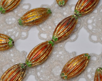 Rustic Cloisonné Beads Russet or Salmon Colored 20 mm X 10 mm 10 or 20 Pieces