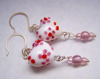 Heart Earrings - Red Earrings - Mauve Earrings - Pink Earrings White Doodaba -  Lampwork Glass Dangle Earrings