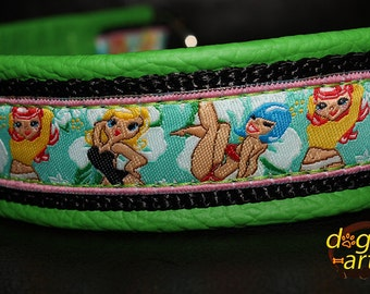 "Dog Collar ""Pin up girls"" by dogs-art, sexy dog collar, pin up girls, chain dog collar, comic dog collar, dog collar leather, dog collar"