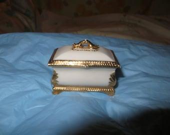 Antique coffin shaped porcelain ring / trinket box