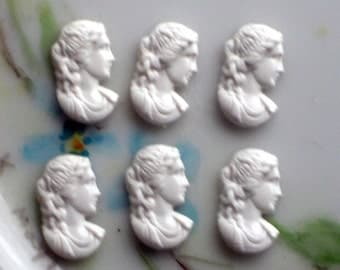 Vintage Cameos Womans Head Right White Acrylic Carved NOS Lady Woman. #1263A