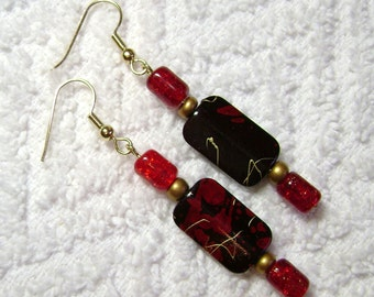 Black Read And Gold Earrings - Red And Black Jewelry - Dangle Earring - E80
