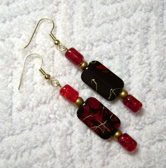 Reading Earrings: Black Read And Gold Earrings Red And Black Jewelry Dangle