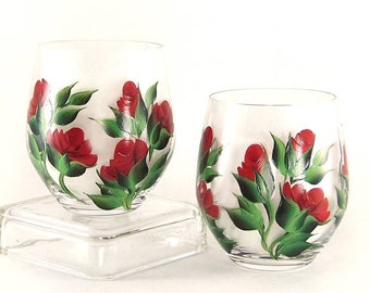 Painted Stemless CRYSTAL Wine Glasses - Ready to Ship - Hand-Painted Deep Red Roses Set of 2 - Hand Painted Wine Lover Stemware Gift Ideas