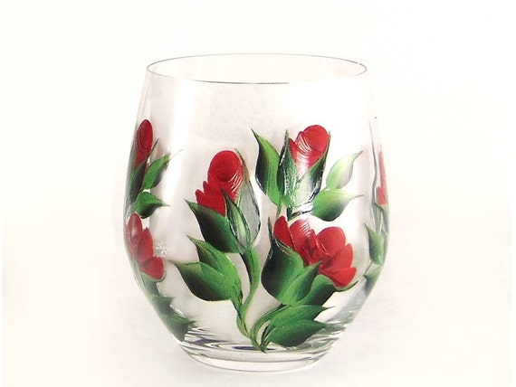 Items similar to hand painted stemless wine glasses for Painted stemless wine glasses