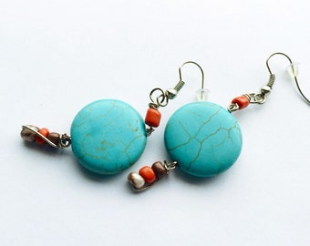 Turquoise dangle earrings. southwestern style beaded earrings. Turquoise and orange. Womans jewelry. Gifts under 20