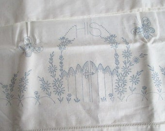 His & Hers Cotton Pillowcases Hem Stitched Transfer to Embroider Never Used