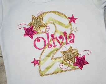 Twinkle Twinkle Little Star Birthday Shirt- Cake Smash Outfit-Hot Pink and Gold Stars Birthday- Gold Glitter shirt- Sparkle Birthday Shirt