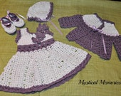 5 piece custom newborn layette dress sweater set