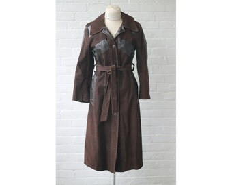 SALE 1960s 1970s Leather and Suede Trench Coat