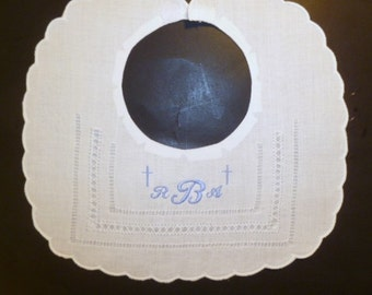 Christening Baptism Linen Bib with Embroidered Monogram and Crosses Christening Bib Baptism Bib Baby Bib