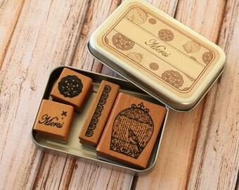 MERCI Vintage Time rubber stamps set