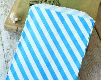 Large AQUA Blue Stripe Paper Bags BIGGER Bitty Bags