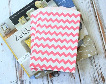 HOT PINK Chevron Middy Bitty Bags paper bags