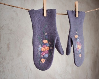 Felted purple mittens merino wool gloves with flowers storm grey arm warmers Russian style women mittens Christmas gift winter mittens