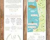 Coastal Wedding Map Infographic with Itinerary (choose your city/location)