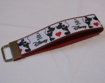 "Mickey and Minnie ""Keep Calm and Go To Disney"" Wristlet Keychain"