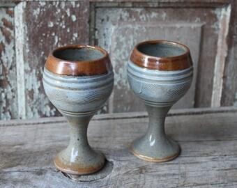 vintage stoneware goblets ~ set of 2