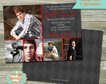 Photo Graduation Announcement Invitation, Photoshop Template, Photographer Template, Modern Graduation Card, Multiple Photos