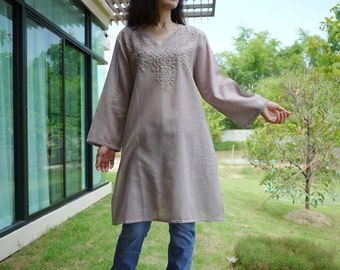 Be Yours - Long Sleeves Hand Dyed Dusty Tuape Brown Cotton Blouse Tunic with Stunning Hand Embroidered Detail