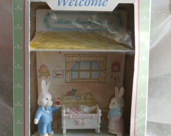 Vintage Easter Miniatures, Vintage Family of White Rabbits in House McCrory 1980s, Mother, Father, Baby Bunny