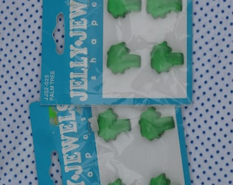 8 Palm Tree Craft Embellishments Jelly Jewels Shapes, Plastic